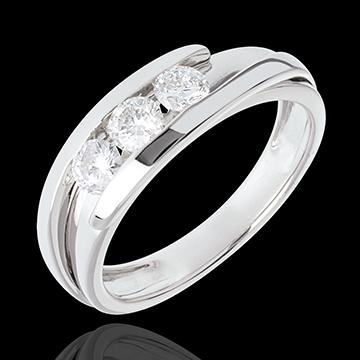 Pierścionek Drogocenne Gniazdo z potrójnym diamentem - Z zachodzącymi na siebie ramionami - złoto białe 18-karatowe - 0,54 karat