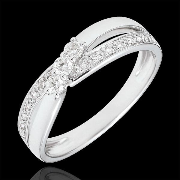 Pierścionek Drogocenne Gniazdo z trzema diamentami - Aurea - złoto białe 18-karatowe - 0,18 karata