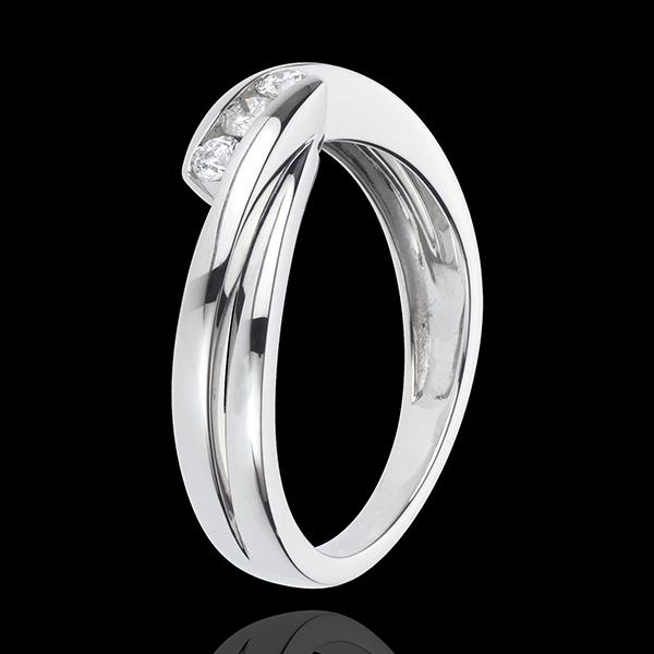 Pierścionek Drogocenne Gniazdo z trzema diamentami - Refren - złoto białe 18-karatowe - 3 diamenty
