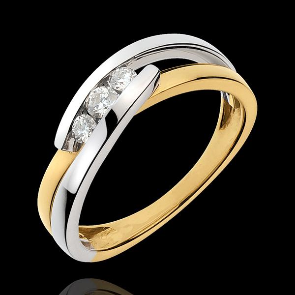 Pierścionek Drogocenne Gniazdo z trzema diamentami - Serenada - 3 diamenty - złoto białe i złoto żółte 18-karatowe