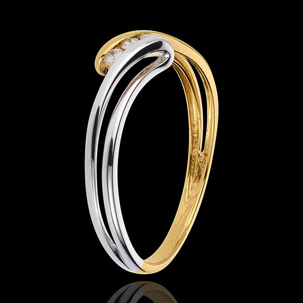 Pierścionek Drogocenne Gniazdo z trzema diamentami - Szron - diament 0,07 karata - złoto białe i złoto żółte 18-karatowe
