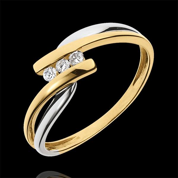 Pierścionek Drogocenne Gniazdo z trzema diamentami - Tango - diament 0,07 karata - złoto białe i złoto żółte 9-karatowe