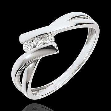 Pierścionek Drogocenne Gniazdo z trzema diamentami - złoto białe 18-karatowe - 3 diamenty
