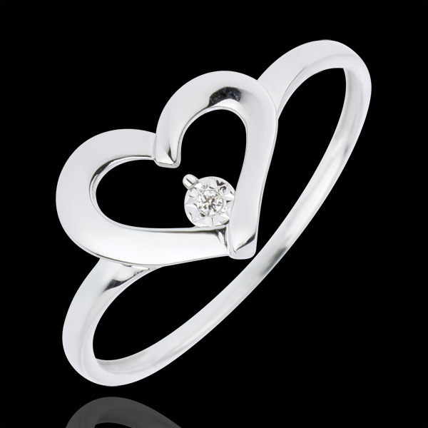 Pierścionek Drogocenne Serce - diament 0,01 karata - złoto białe 18-karatowe