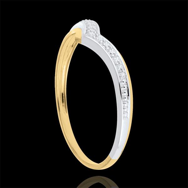 Pierścionek Drogocenne Skrzydła - złoto białe i złoto żółte 9-karatowe