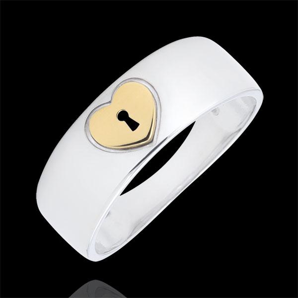 Pierścionek Drogocenny Sekret - Serce - złoto białe i złoto żółte 9-karatowe