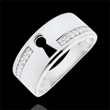 Pierścionek Drogocenny Sekret - złoto białe 9-karatowe i diamenty