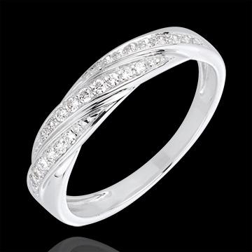 Pierścionek Drogocenny Splot z białego złota 18-karatowego i diamentów