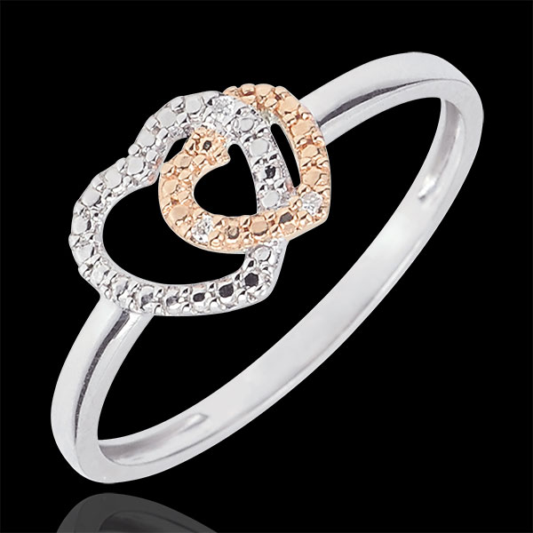 Pierścionek z dwóch rodzajów złota i diamenty - Sprzymierzone Serca - złoto białe 9-karatowe