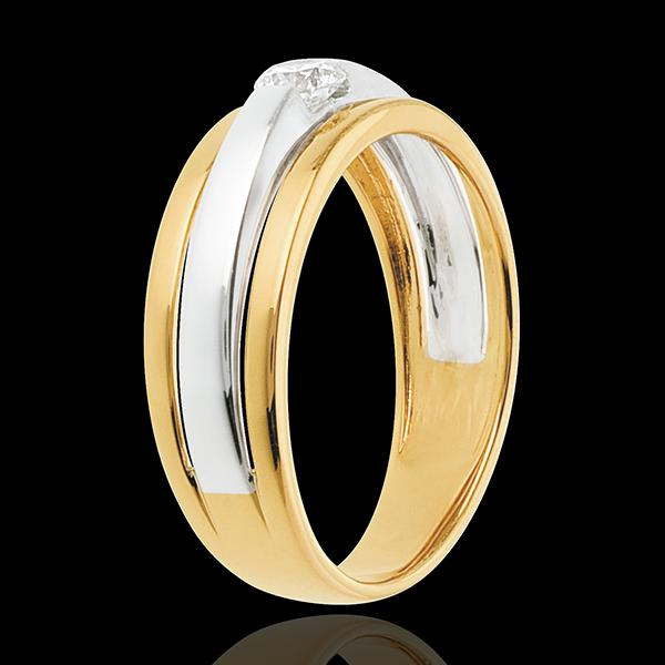 Pierścionek Eklipsa z białego i żółtego złota 18-karatowego z jednym diamentem