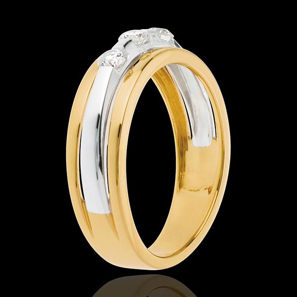 Pierścionek Eklipsa z potrójnym diamentem - 3 diamenty 0,24 karata - złoto białe i złoto żółte 18-karatowe
