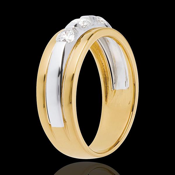 Pierścionek Eklipsa z potrójnym diamentem - 3 diamenty 0,44 karata - złoto białe i złoto żółte 18-karatowe