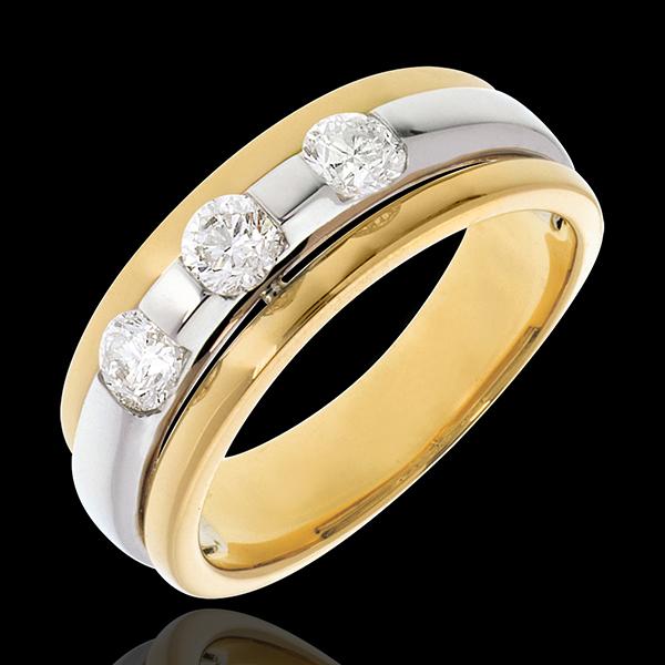 Pierścionek Eklipsa z potrójnym diamentem ze złota białego i żółtego - 0,59 karata - 3 diamenty
