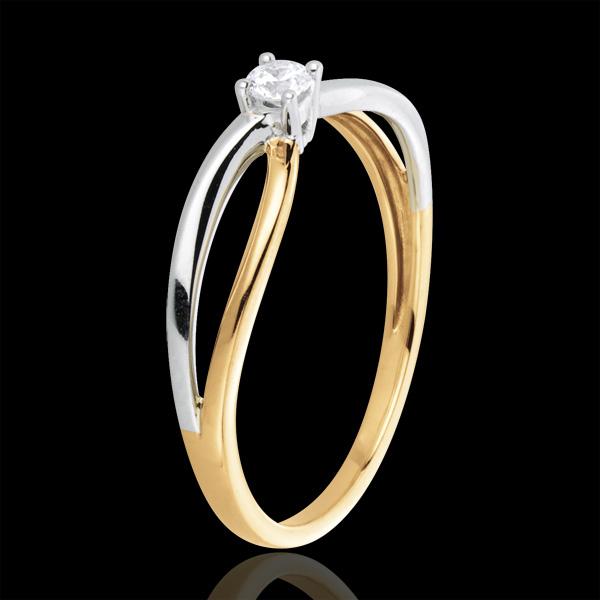 Pierścionek Ella z jednym diamentem - diament 0,08 karata - złoto białe i złoto żółte 18-karatowe