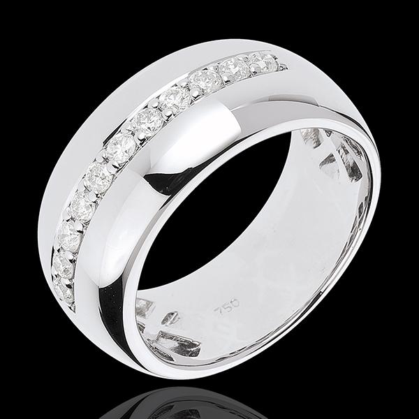 Pierścionek Feeria - Blask Księżyca - złoto białe 18-karatowe - 11 diamentów: 0,37 karata