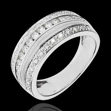 Pierścionek Feeria - Droga Mleczna - 0,7 karata - 43 diamenty - złoto białe 18-karatowe