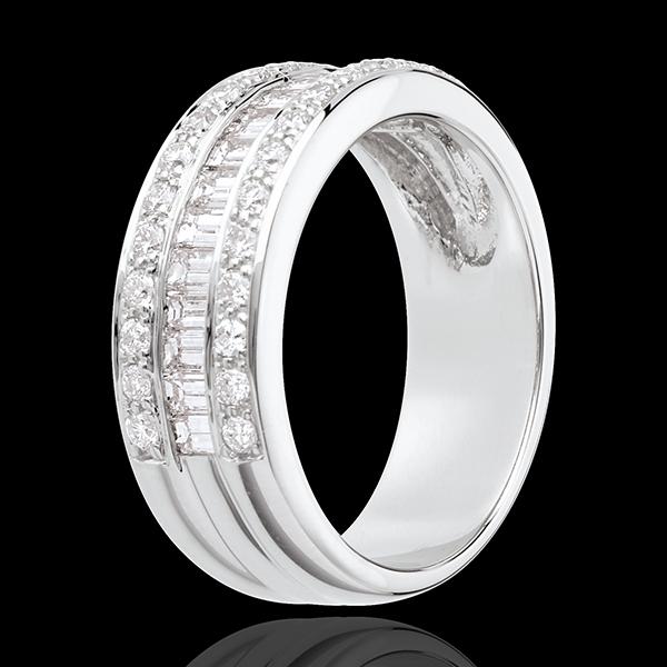 Pierścionek Feeria - Dziedziczka - złoto białe 18-karatowe wysadzane diamentami - 0,88 karata - 44 diamenty