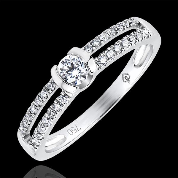 Pierścionek Feeria – Szlachetne Zaręczyny – białe złoto 18-karatowe z diamentami