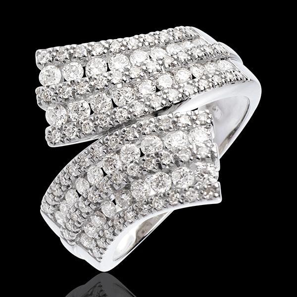 Pierścionek Feeria - Wysadzana wstęga - 1,1 karata - 108 diamentów - złoto białe 18-karatowe