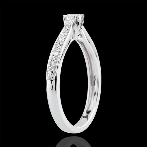 Pierścionek Garlane z jednym diamentem oprawionym w 8 krap - 0,15 karata - złoto białe 18-karatowe