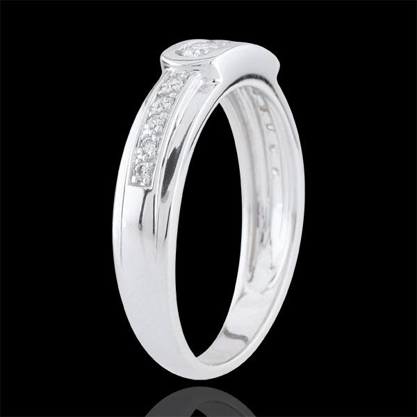 Pierścionek Helwen z trzema diamentami - złoto białe 18-karatowe