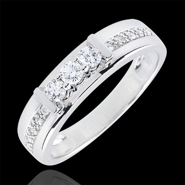 Pierścionek Hérine z trzema diamentami - złoto białe 9-karatowe