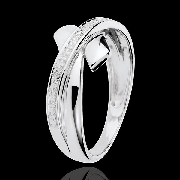 Pierścionek Inicjacyjna Ozdoba z białego złota 18-karatowego z diamentem