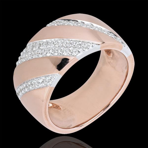 Pierścionek Intensywny z diamentami - złoto białe i złoto różowe 18-karatowe