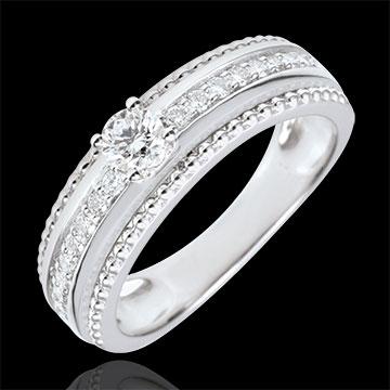 Pierścionek z jednym diamentem - Kwiat Soli - dwie obrączki - 0,18 karata - złoto białe 9-karatowe