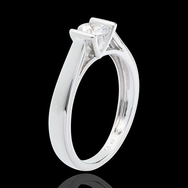 Pierścionek Kaldera z białego złota 18-karatowego z jednym diamentem - 0,41 karata