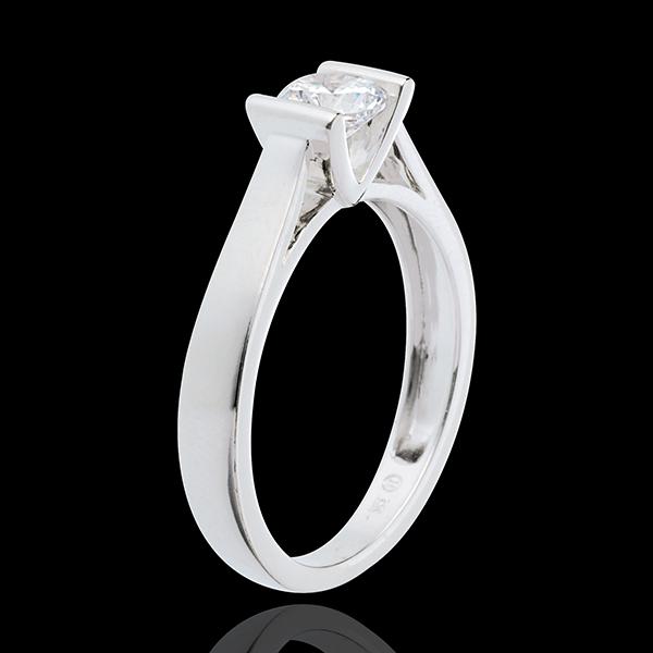 Pierścionek Kaldera z białego złota 18-karatowego z jednym diamentem (bardzo duży model) - 0,52 karata