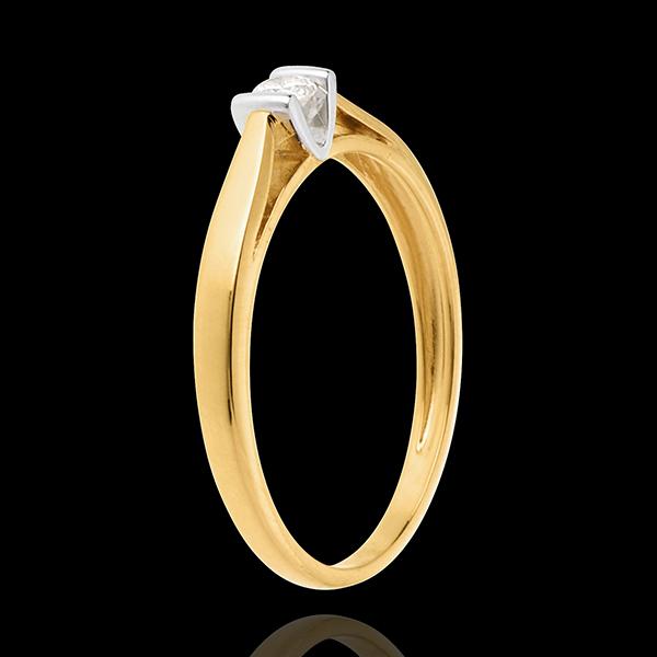 Pierścionek Kaldera z jednym diamentem - diament 0,08 karata - złoto białe i złoto żółte 18-karatowe