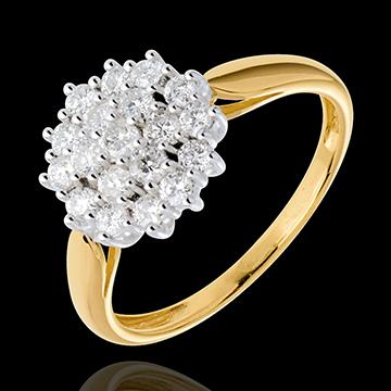 Pierścionek Kalejdoskop wysadzany diamentami - 0,61 karata - 19 diamentów - złoto białe i złoto żółte 18-karatowe