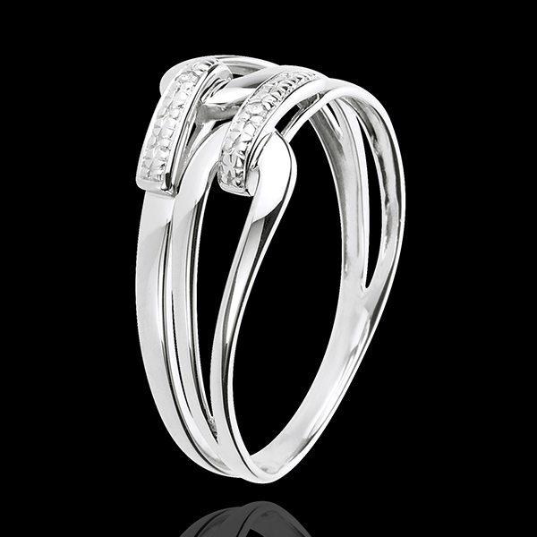 Pierścionek Klamra - złoto białe 18-karatowe