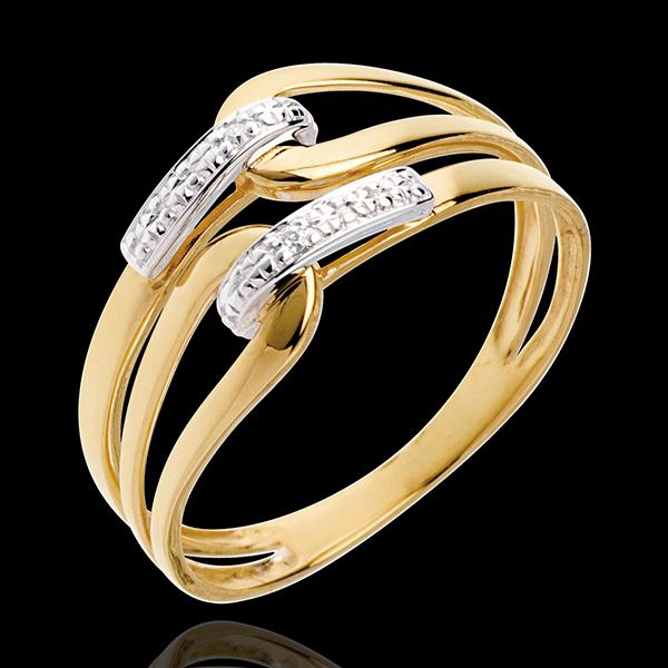 Pierścionek Klamra z żółtego złota 18-karatowego wysadzany diamentami