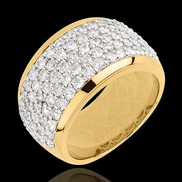 Pierścionek Konstelacja - Niebiański Pejzaż - złoto żółte 18-karatowe wysadzane diamentami - 2,05 karata - 79 diamentów