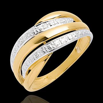 Pierścionek Kobra wysadzany diamentami - 4 diamenty - złoto białe i złoto żółte 18-karatowe