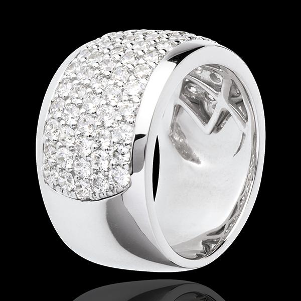 Pierścionek Konstelacja - Niebiański Pejzaż - złoto białe 18-karatowe wysadzane diamentami - 2,05 karata - 79 diamentów