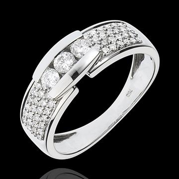 Pierścionek Konstelacja - Pierścionek z białego złota 18-karatowego z trzema diamentem w otoczeniu innych diamentów - 0,509 kara