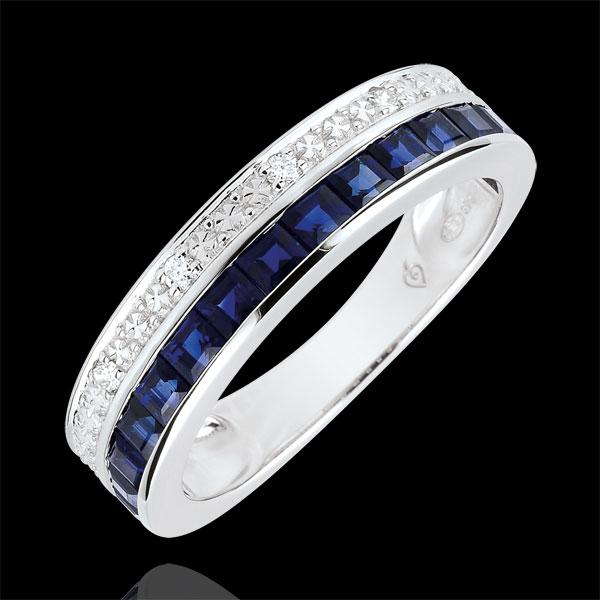 Pierścionek Konstelacja - Zodiak - Mały model - niebieskie szafiry i diamenty - złoto białe 9-karatowe