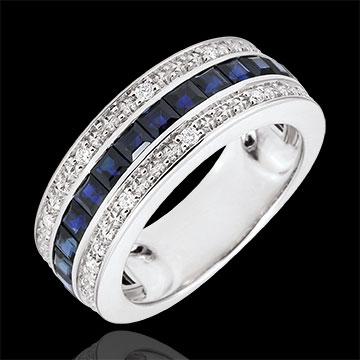 Pierścionek Konstelacja - Zodiak - niebieskie szafiry i diamenty - złoto białe 18-karatowe