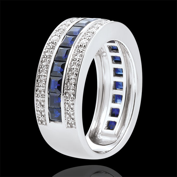 Pierścionek Konstelacja - Zodiak - niebieskie szafiry i diamenty - złoto białe 9-karatowe