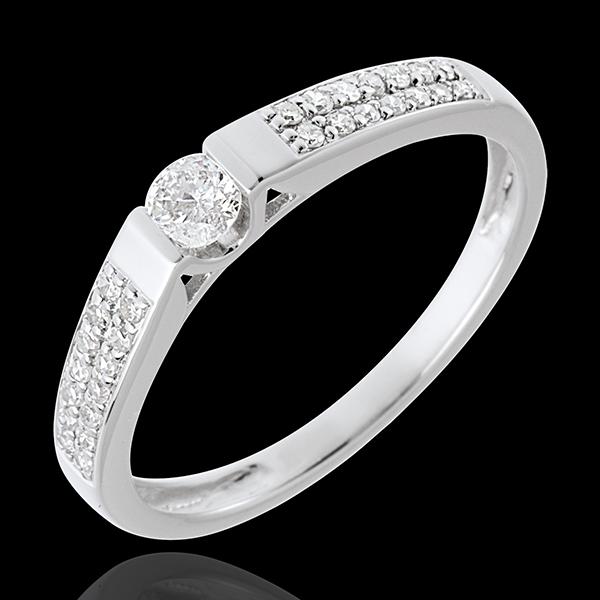 Pierścionek w kształcie łuku z białego złota 18-karatowego wysadzany diamentami - 0,12 karata - 29 diamentów