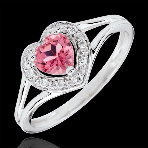Pierścionek w kształcie serca Oczarowanie - turmalin różowy - złoto białe 9-karatowe