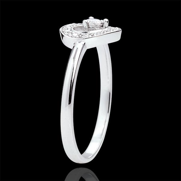 Pierścionek w kształcie serca Tiphanie - złoto białe 9-karatowe