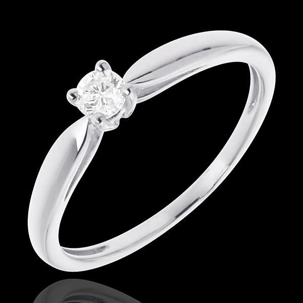 Pierścionek w kształcie trzciny z białego złota 18-karatowego z jednym diamentem - 0,1 karata