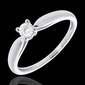 Pierścionek w kształcie trzciny z białego złota 18-karatowego z jednym diamentem - 0,16 karata