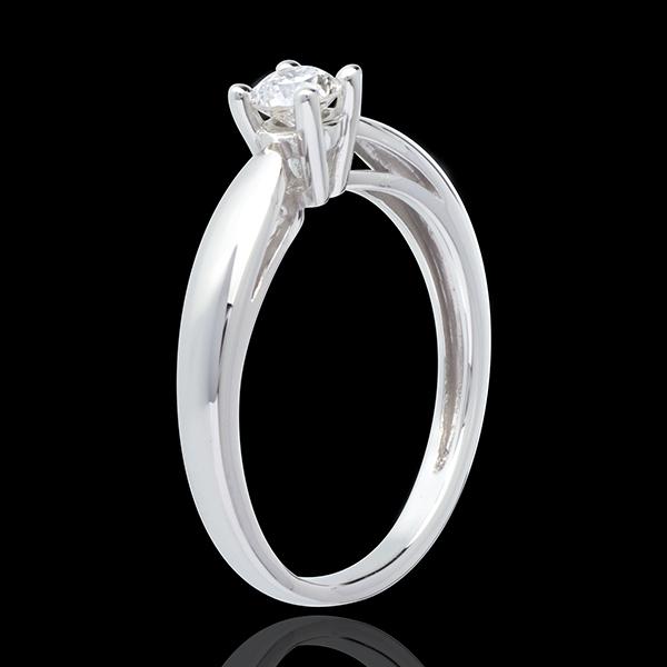 Pierścionek w kształcie trzciny z białego złota 18-karatowego z jednym diamentem (bardzo duży model) - 0,3 karata