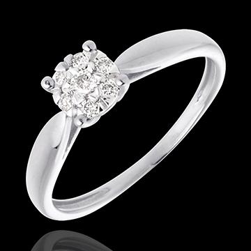 Pierścionek w kształcie trzciny z białego złota 18-karatowego z kulą wysadzaną diamentami - 7 diamentów - 0,12 karata