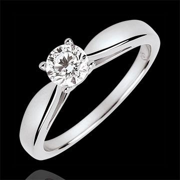 Pierścionek w kształcie trzciny z jednym diamentem - diament 0,4 karata - złoto białe 18-karatowe